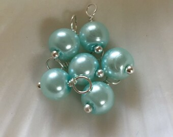 Glass pearl dangles, 6mm Light Blue, czech glass pearl round beads, dangle charms, pearl dangle, pearl charms, bead charms, bead dangles