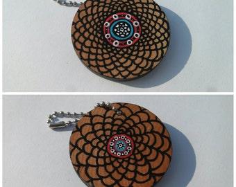 "Dream Catcher Hand Painted 2"" Wood Keychain"