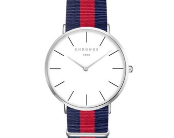 Men Watch > Red-Blue & Silver > Modern Shape > Elegant > Classic > Quartz