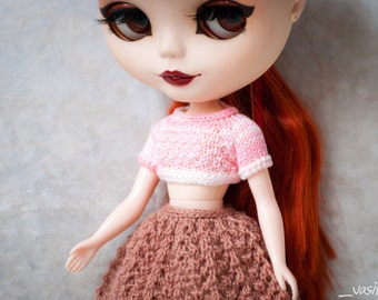 Cute top – hand-knitted top for Blythe/Licca