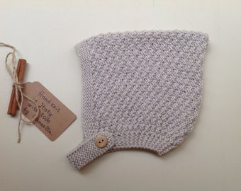 Baby Pixie Bonnet hat 100% cashmere color Light Grey melange hand knit,   size 6-12 months