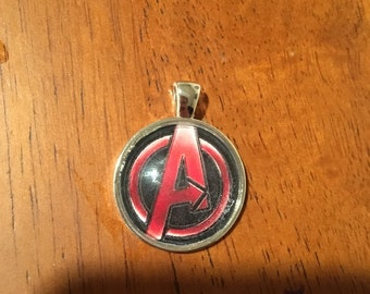 Marvels Avengers Logo Glass Pendant Necklace