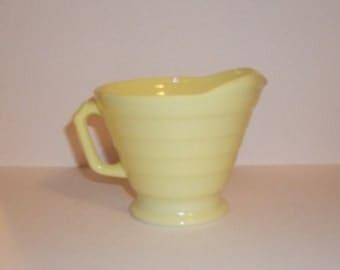 Vintage Pale Yellow Platonite Creamer Pitcher - Hazel Atlas