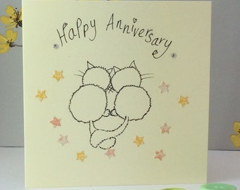 Anniversary fluffy cat card
