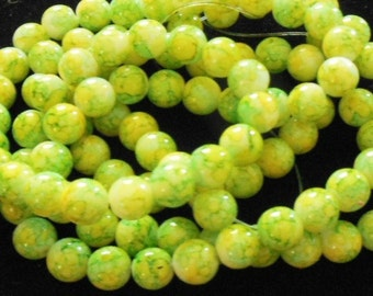 1 Strand Yellow/Green Mottled Glass Beads 8mm (B12)