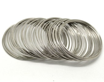200 Loops Silver Tone Memory Beading Wire for Bracelet 60mm-65mm (B17)