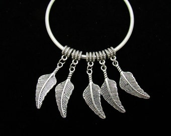 10 Antique Silver Metal Alloy Large Feather Euro Dangle Charms 31 x 11mm  (B28f)