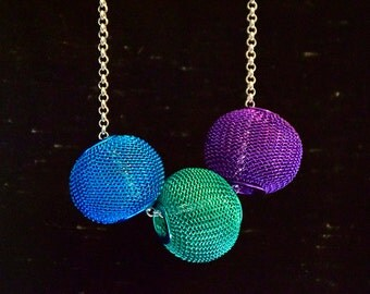 Green, Purple and Blue beads on silver chain
