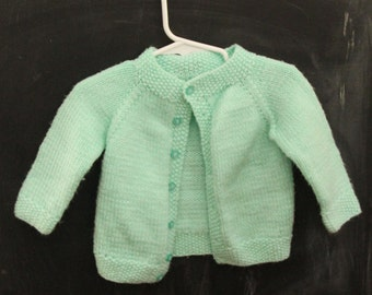 Vintage, mint green sweater, hand knitted