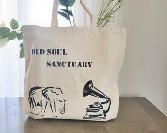 Tote Bag - hand painted bag - elephant - gramophone - Old Soul Sanctuary - library bag - handmade tote bag - shopping bag - book bag