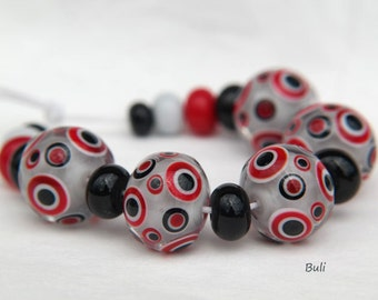 BuliBeads - Handmade Lampwork (5+12) Glass Beads Set - Red - Gray - Black - dots