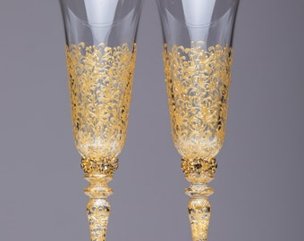 bride and groom flutes gold wedding personalized glasses gold wedding flutes wedding champagne glasses Toasting flutes wedding set of 2