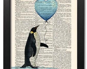 Love print, Penguin, Funny animal, Dictionary art print, Vintage book art print, dictionary page, Home Wall Decor, Gift poster [ART 008]