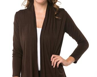 Brown Open Drape Cardigan More Color
