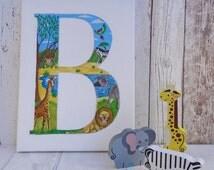 Jungle themed initial canvas, jungle nursery wall art, safari wall art, wild animal initial canvas