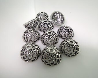 Bead Caps Bali Style Antique Silver in Rhodium Plated Brass #395