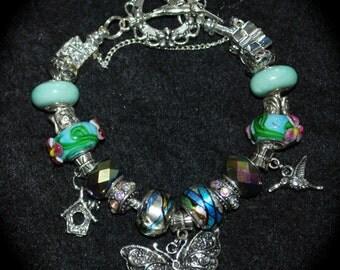Birds and Butterflies Charm Bracelet