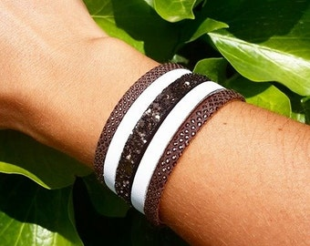 Brown and white Cuff Bracelet
