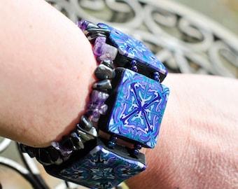 Polymer Clay Bracelet, Blue Purple Green Elastic Bracelet, Polymer Clay Tiles, Baroque Jewelry, Boho Chic Bracelet, Fimo Jewelry