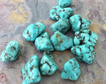 Full Strand of Natural Turquoise Gemstone Nuggets