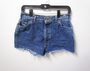 Lee Semi-Acid Washed Styled Dark Denim High Waisted Shorts Size 12