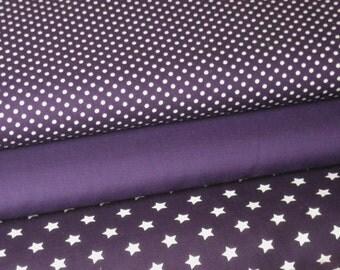 Fabric purple 3 substances 50 x 145 cm