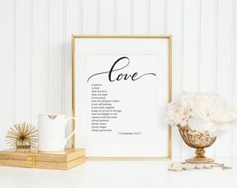 Love is patient - 1 Corinthians - Instant Download