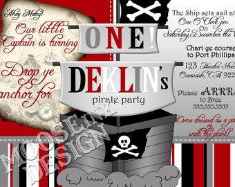 5x7 Personalized Pirate Party Birthday Invitation