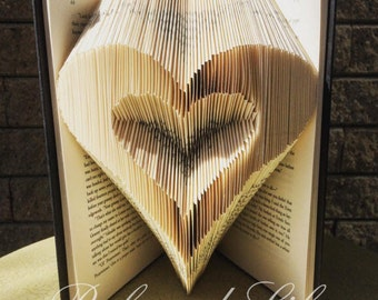 Book Folding Pattern /Heart / folded book art pattern / folded book pattern / folded book tutorial / Tutorial / wedding gift for couple