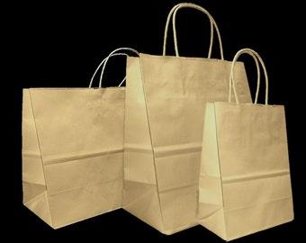 Mixed Medium Sizes Kraft Brown Paper Retail Gift Rope Handle Tote Shopping Bags