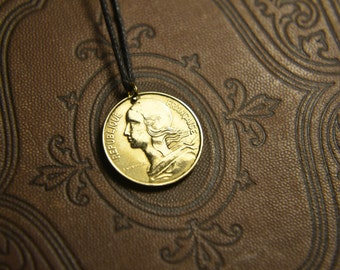Republic francaise 10 centimes 1987. Coin pendant. Сoin jewelry. Mens Necklace, Womens Necklace