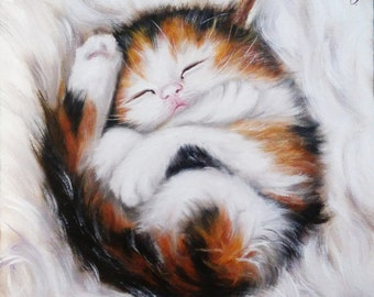 Sweet dream kitten Oil painting cat