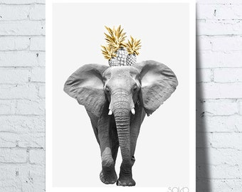 Poster pineapple on the head of an elephant, wall art, photo, poster, safari décor