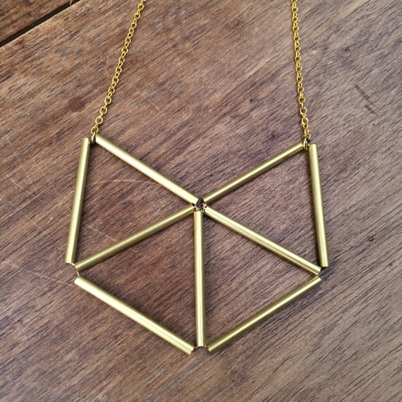 Large Brass geometric necklace triangles, fox, cat, gold