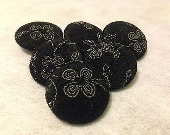 6 Large Black Flower Fabric Covered Buttons 25 mm Size 40