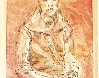 Signed Original Painting by Irving Amen, Ink and Watercolor of Seated Woman