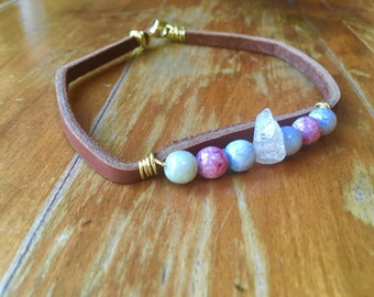 Pink beaded brown leather choker