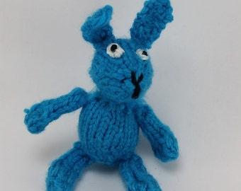 Knit Blue Bunny Cat Toy