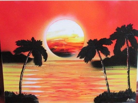 Items Similar To Orange Sunset Wall Art Sunset Spray Paint