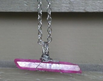 Pink aura quartz necklace