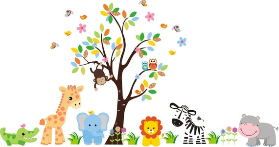 Nursery wall prints nursery wall decals baby room theme for Baby jungle mural