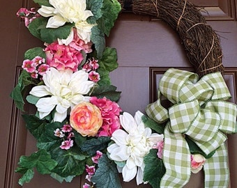 Spring Wreath - Peaches and Cream
