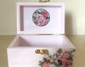 Decoupage box, Treasury box Rose, Wooden box, Storage box, Jewelry box, Keepsake box, Vintage