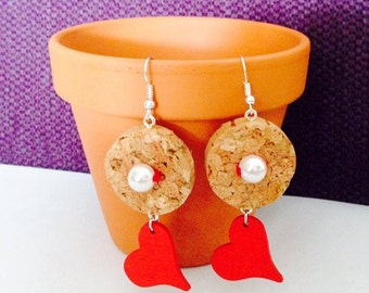Cork earrings pendants with heart-news-