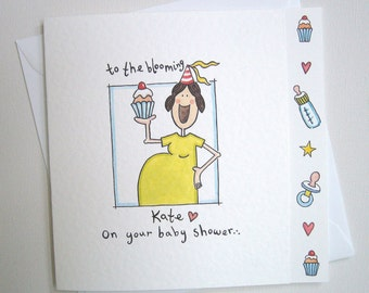 Personalised Baby Shower Card, New Mum Card, New Mom Card, Having a Baby Card. Please read item details.
