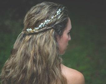 Crystal & Pearl Bridal Hair Vine, Gold Vine Hair Pins, Rhinestone Bridal Headpiece, Wedding Hair Comb, Hair Accessory, Wedding Headpiece