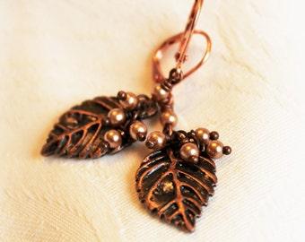 Copper Pearl Leaf earrings