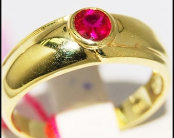Promise 18K Yellow Gold Gemstone Ruby Solitaire Ring [RR059]