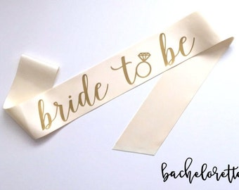 Bride to be sash - Bride to Be Bachelorette Sash - Bridal Shower Bachelorette Party Accessory, Satin Bride Sash, with diamond ring accent!