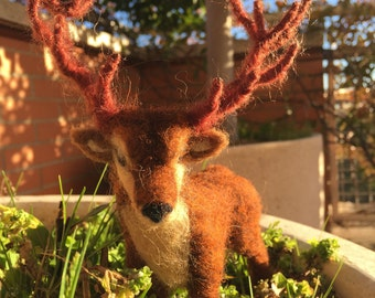 Needle felted deer,red deer of the forest, needle felting deer, woodland animal, forest animal